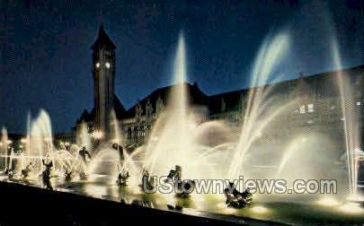 Milles Fountain - Union Station - St. Louis, Missouri MO Postcard