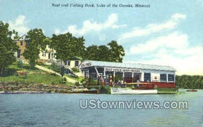 Boat and Fishing Dock - Lake of the Ozarks, Missouri MO Postcard