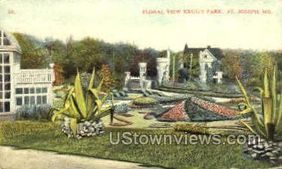 Floral View Krug's Park - St. Joseph, Missouri MO Postcard