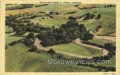 Boulefard Scene - St. Joseph, Missouri MO Postcard