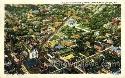 Air View Showing Central Section - St. Joseph, Missouri MO Postcard