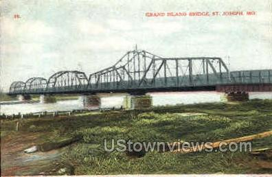 Grand Island Bridge - St. Joseph, Missouri MO Postcard