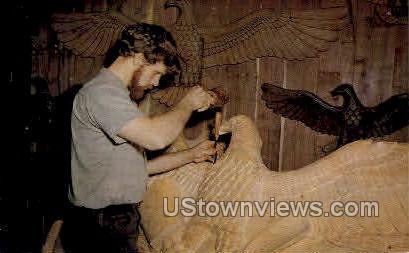 Joe Jensen, woodcarving - Branson, Missouri MO Postcard