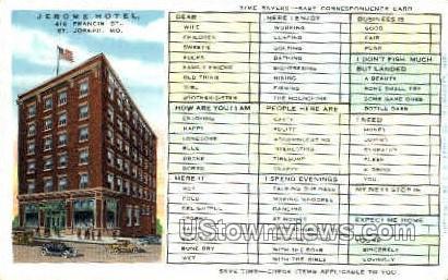 Jerome Hotel - St. Joseph, Missouri MO Postcard