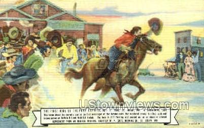First Ride of the Pony Express - St. Joseph, Missouri MO Postcard