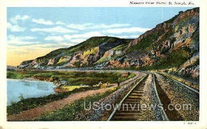 Missouri River Bluffs - St. Joseph Postcard