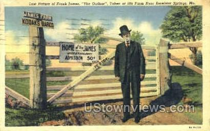 Last Picture of Frank James - Excelsior Springs, Missouri MO Postcard