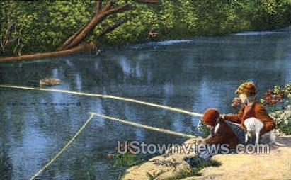 Fishing in the Ozarks - Lake of the Ozarks, Missouri MO Postcard