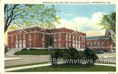 Memorial Hall & First Methodist Church - Independence, Missouri MO Postcard
