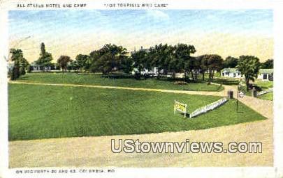 All States Hotel & Camp - Columbia, Missouri MO Postcard