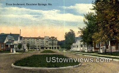 Elms Blvd - Excelsior Springs, Missouri MO Postcard