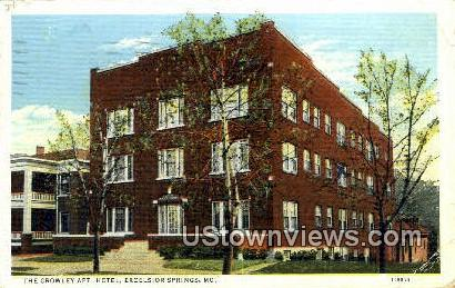 The Crowley Apt Hotel - Excelsior Springs, Missouri MO Postcard