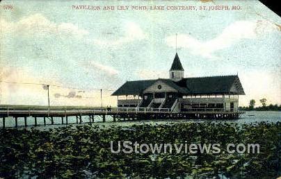 Pavilion & Lily Pond - St. Joseph, Missouri MO Postcard