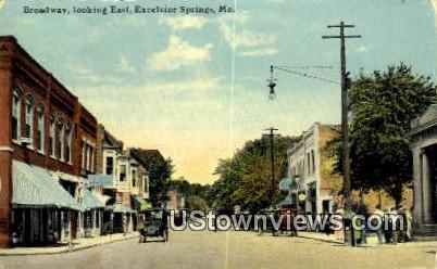 Broadway - Excelsior Springs, Missouri MO Postcard
