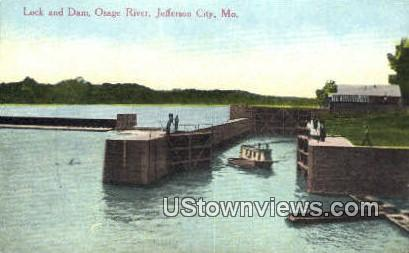 Lock & Dam, Osage River - Jefferson City, Missouri MO Postcard