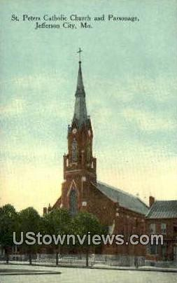 St. Peters Catholic Church - Jefferson City, Missouri MO Postcard