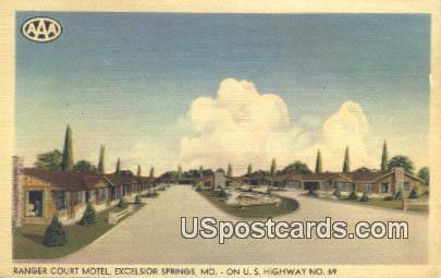 Ranger Court Motel - Excelsior Springs, Missouri MO Postcard