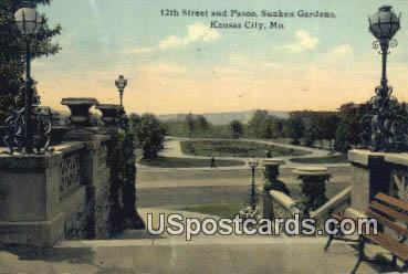 12th Street & Paseo, Sunken Gardens - Kansas City, Missouri MO Postcard