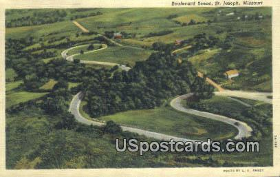 Boulevard Scene - St. Joseph, Missouri MO Postcard