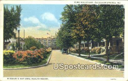 Elks Boulevard - Excelsior Springs, Missouri MO Postcard