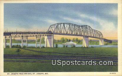 St Joseph Free Bridge - St. Joseph, Missouri MO Postcard