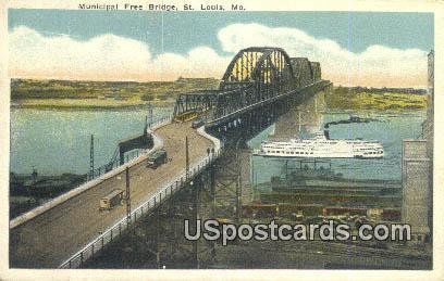 Municipal Free Bridge - St. Louis, Missouri MO Postcard