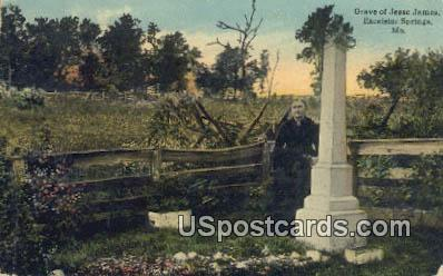 Grave of Jesse James - Excelsior Springs, Missouri MO Postcard