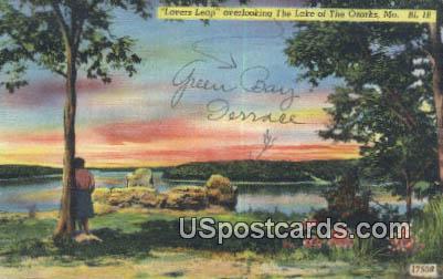 Lover's Leap - Lake of the Ozarks, Missouri MO Postcard