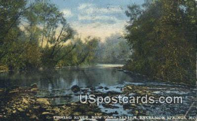 Fishing River, New Park System - Excelsior Springs, Missouri MO Postcard