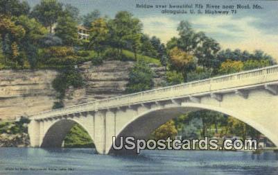 Bridge, Elk River - Noel, Missouri MO Postcard