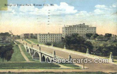 Bridge, Troost Park - Kansas City, Missouri MO Postcard
