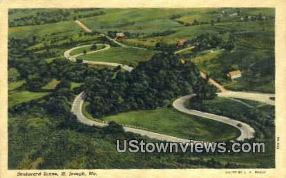 Boulevard - St. Joseph, Missouri MO Postcard