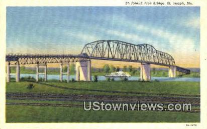 St. Joseph Free Bridge - Missouri MO Postcard