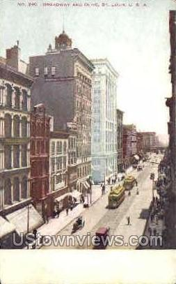 Broadway and Olive - St. Louis, Missouri MO Postcard