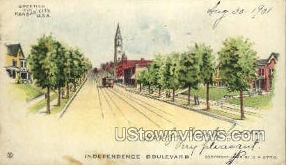 Independence Blvd. - Kansas City, Missouri MO Postcard