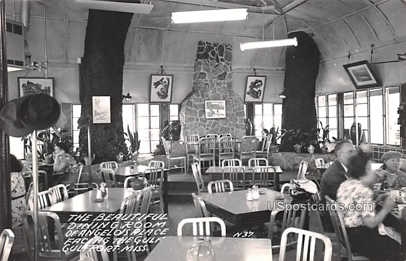 Dining Room of Angelo's Place - Gulfport, Mississippi MS Postcard