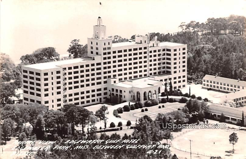 Aerial View Edgewater Gulf Hotel - Gulfport, Mississippi MS Postcard
