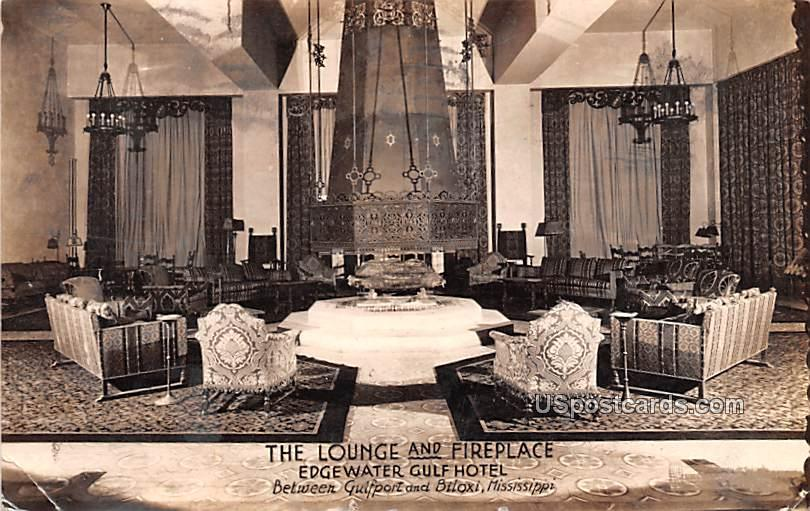 Lounge and Fireplace - Gulfport, Mississippi MS Postcard
