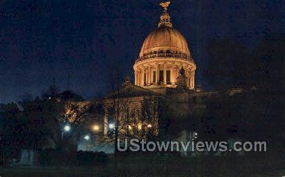 State capitol At Night - Jackson, Mississippi MS Postcard