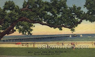 Typical Scene Along Highway 90 - Gulf Coast, Mississippi MS Postcard