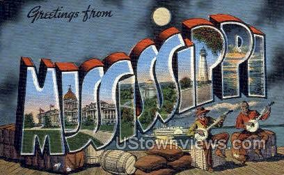 Greetings From - Misc, Mississippi MS Postcard