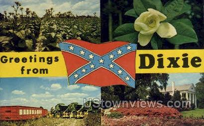 Greetings From - Dixie, Mississippi MS Postcard
