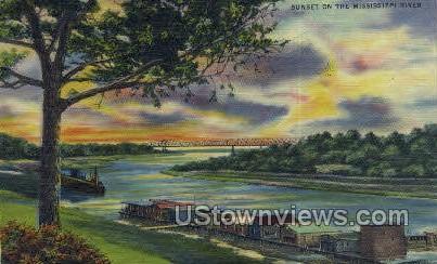 Sunset On The Mississippi River - Mississippi River Postcards Postcard