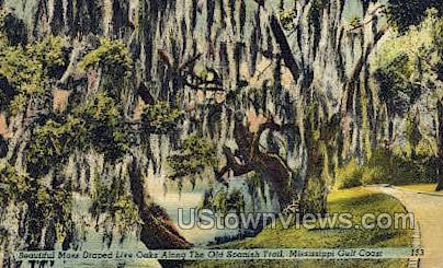 The Old Spanish Trail - Gulf Coast, Mississippi MS Postcard