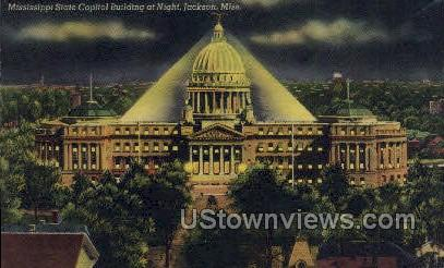 Mississippi State Capitol at Night - Jackson Postcard