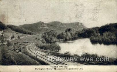 Three Sisters  - Burlington Route, Mississippi MS Postcard