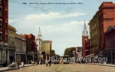 Capitol Street Looking West From Old Capitol - Jackson, Mississippi MS Postcard