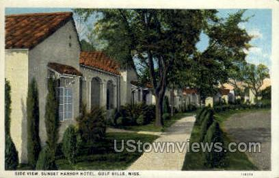 Side View Sunset Harbor hotel - Gulf Hills, Mississippi MS Postcard