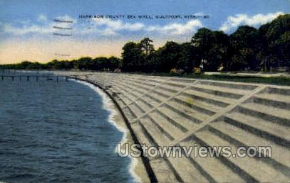 Harrison County Sea Wall - Gulf Port, Mississippi MS Postcard