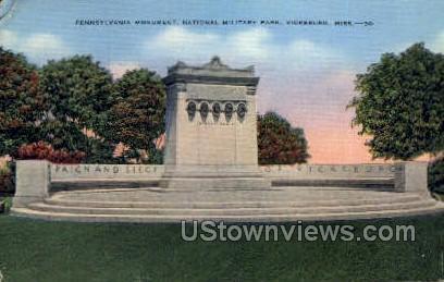 Pennsylvania Monument National Park - Vicksburg, Mississippi MS Postcard